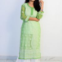 Buy Lucknowi Chikan Light Green and White Georgette Kurti